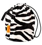 Zebra Furry Small GoKnit Pouch Project Bag w/ Loop & Drawstring by KnowKnits