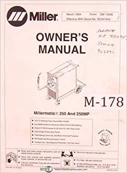 Miller       Millermatic    250 and 250MP  Welding Power Source