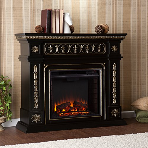 Traditional Electric Fireplace Remote Control Operated , Black & Gold