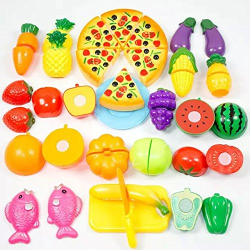 Formula? 24Pcs Plastic Fruit Vegetable Kitchen Cutting Toy Early Development and Education Toy for Baby Kids Children (Cutting Appliances compare prices)