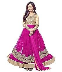 Fashion Fire Women's Pink Net Golden Zari Work Anarkali Unstitched Dress Material