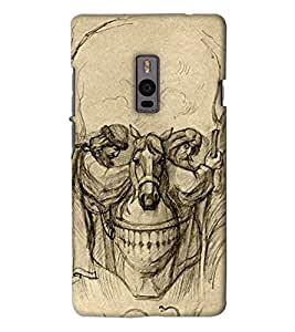 Go Yankee skull painting back Cover For One Plus Two