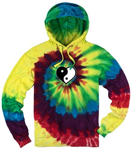 Mens YIN YANG HEART Tie Dye Hoodie, XL Michaelangelo (Yin Yang Hoodie Tie Dye compare prices)