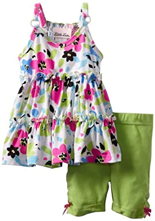 Little Lass Baby-girls Infant 2 Piece Set With Flower Print Top and Comfortable Short, Green, 12 Months