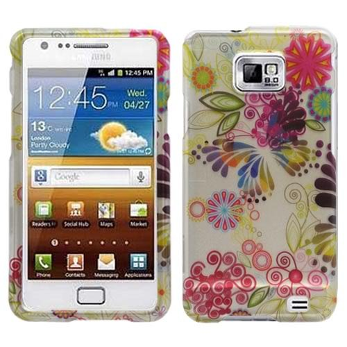 Painting Butterfly Flower Rubber Coating Snap on Case Hard Case Faceplate for Samsung Galaxy S2 I9100 /AT&T