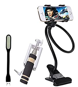 Lord's Leaf Combo Of Selfie Stick with Aux Cable for iPhones, Metal/Steel Universal Mobile Holder And USB LED Light
