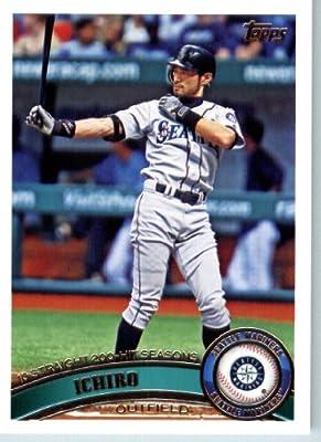 2011 Topps Baseball Card # 385 Ichiro Suzuki - Seattle Mariners - MLB Trading Card (Series 2) in a Protective Screwdown Case