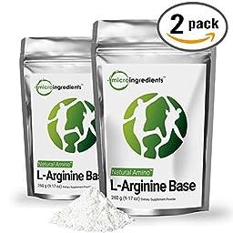 Naturally Fermented Pure L-Arginine Base Powder - Support Nitric Oxide -2 Packs (520 grams / 1.15 lb) Vegan Amino Acids
