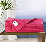 Story@Home Pack Of 10 Sensational 100 % Cotton Thick Large Towel Soft Face Towels Pink With Stripe
