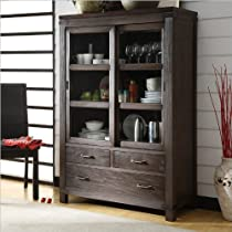 Hot Sale Riverside Furniture Promenade Sliding Door Bookcase in Warm Cocoa