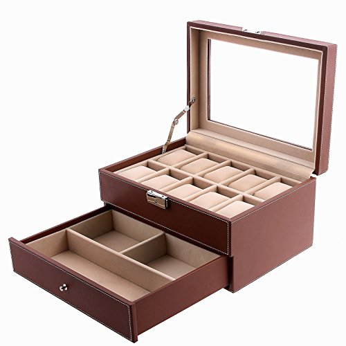 Songmics Brown Leather 10 Watch Box with Jewelry Display Drawer Glass Top Lockable Watch Case UJWB007
