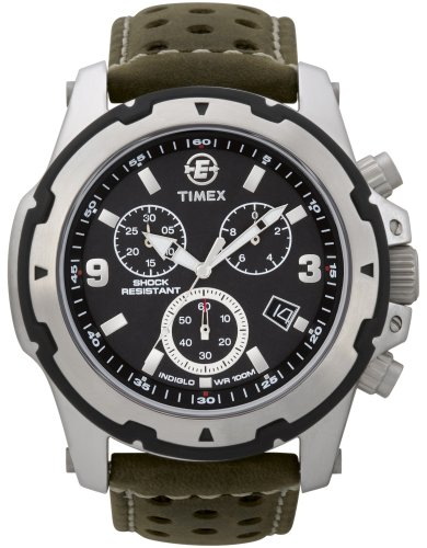 Timex Expedition Fullsize Quartz Watch with Black Dial Chronograph Display and Black Leather Strap T49626SU