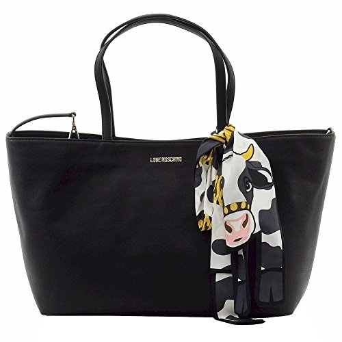 Borse Shopping Love Moschino Donna Poliuretanica Nero e Platino JC4075PP12LJ0000 Nero 11x26x38 cm