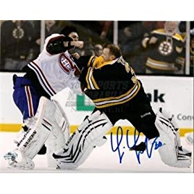 Signed Tim Thomas Photo - fight Carey Price 8x10 - Autographed NHL Photos