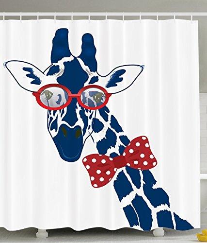 Doug wargo Funny Giraffe Wearing Hipster Sunglasses Polyester fabric Shower Curtain