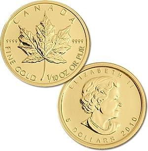 金地金 カナダ メイプルリーフ金貨  1/10オンス oz Gold Maple Leaf 5$ コイン  並行輸入品
