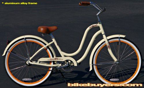 Anti-Rust Aluminum frame, Fito Verona Alloy 1-speed Vanilla/Orange Women's Beach Cruiser Bike Bicycle Micargi Schwinn Nirve Firmstrong style