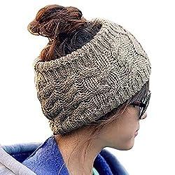 JOVANA Winter Warm Twist knitting wool hat headgear Women's Ladies Korea Knit Crochet flora Twist Style Headband Head Wrap (Brown)