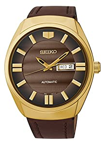 Seiko #SNKN08 Men's Recraft Series Gold Tone Leather Band Automatic Watch