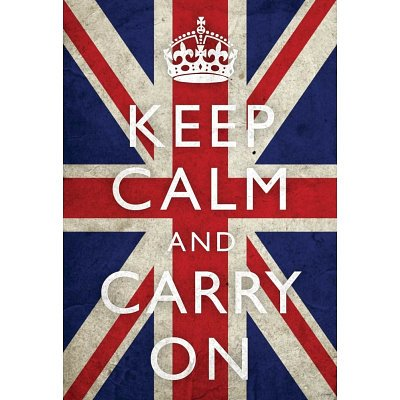 Keep Calm and Carry On (Motivational, Union Jack Flag) Art Poster Print - 13x19
