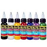 Solong Tattoo New Design 7 Basic Colors Tattoo Ink Set Pigment Kit 1oz (30ml) Professional Tattoo Supply for Tattoo Kit TI301-30-7X