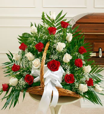 1800Flowers - Sincerest Sympathies Fireside Basket-Red & White - Red And... front-958284