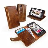 Tuff-Luv �tui housse-Portefeuille en cuir Vintage pour Blackberry Z10 (Protecteur d'ecran gratuit)- Marron