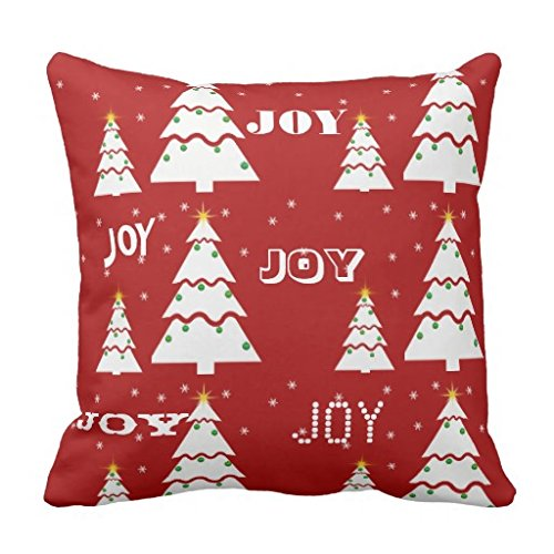 Joy Christmas Throw Pillows : Decorative Square Pillow Case 18X18 Inches - Red, Christmas, JOY, Holiday Pillow Cover from ...