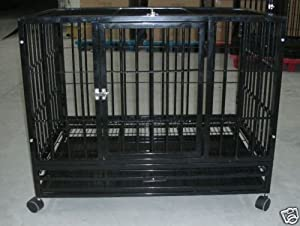 """Amazon.com : 42"""" Black Commercial Quality Heavy Duty Pet Dog Cage Crate Kennel w/Wheels"""