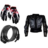 Auto Pearl Premium Quality Bike Accessories Combo Of Fox Hand Grip Glove Black & Red 1 Pair. & Cable Lock For...