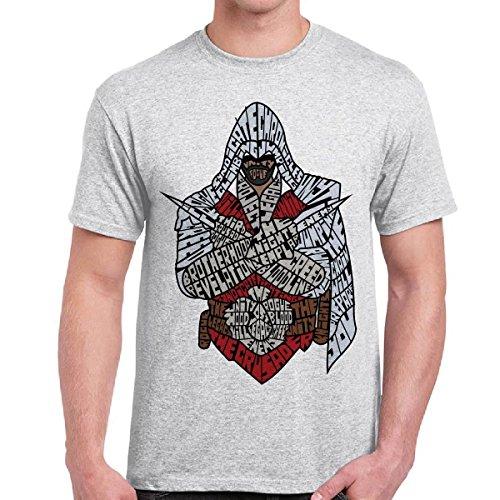 T-Shirt Uomo Maglietta Maniche Corte Videogames Con Stampa Assassin's Creed, Colore: Cenere, Taglia: L