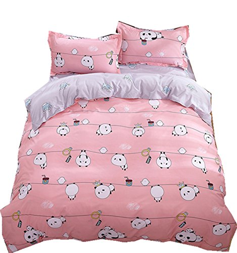 Ningkotex-Cartoon-Pandas-Print-Pink-Quilt-Cover-Pillow-Case-King-Queen-Full-Kids-Girl-Bedding-Set