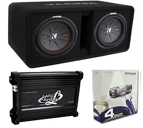 Kicker 43DCWR102 10-Inch 2400W Dual Subwoofers + Box + 3000W Mono Amp + Amp Kit (Package) (Dual Subwoofer Package compare prices)