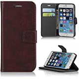 Leather iPhone 6 4.7 wallet case Premium PU Protective Folio Flip Cover with Credit Card Holder [Free Screen Protector] - Brown - Verizon, AT&T, Sprint, T-Mobile, International, Unlocked- Brand New 2014 Soft Slim Wallet Case with Built-in Kickstand