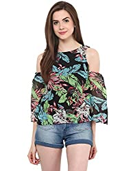 Tropic Print Cold Shoulder Top Small