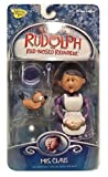 Rudolph the Red-Nosed Reindeer Holiday Action Figure - Mrs. Claus with Misfit Bird and Fishbowl