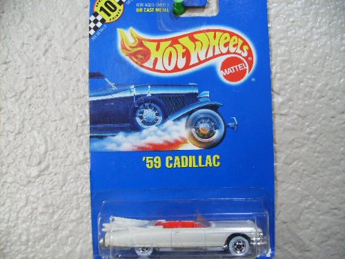 Hot Wheels 59 Cadillac #154 All Blue Card Pearl Cream with White Walls