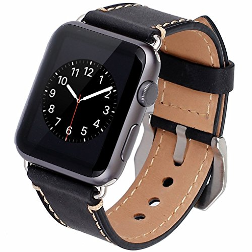Apple Watch Band, 42mm iWatch Band Strap Premium Vintage Genuine Leather Replacement Watchband with Secure Metal Clasp Buckle for Apple Watch Sport Edition 1