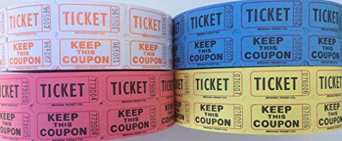 Raffle Tickets - (4 Rolls of 2000 Double Tickets) 8,000 Total 50/50 Raffle Tickets (Tangerine/Pink/Blue/Yellow) (Double Raffle Tickets Blue compare prices)