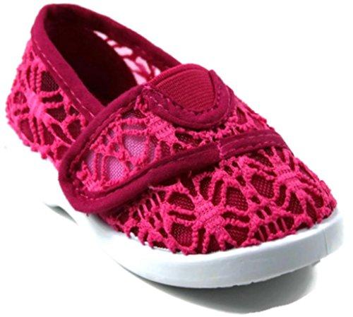 Rf Infant Girls Cutie-20B Crochet Velcro Strap Slip-On Canvas Sneakers 4 front-539472
