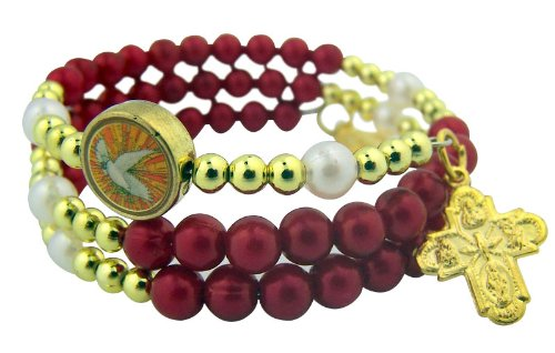 catholc-teen-girls-confirmation-jewelry-gift-6mm-acrylic-gold-tone-red-holy-dove-bead-with-4-way-sca
