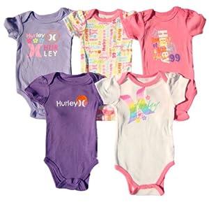 Hurley Baby Girls 5pc Short Sleeve Bodysuits, Multi
