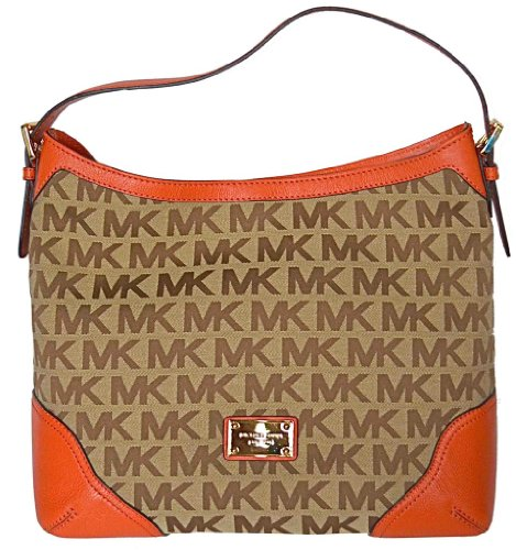 Michael Kors MK Signature Millbrook Large Shoulder Bag Handbag - Beige/ Persimon
