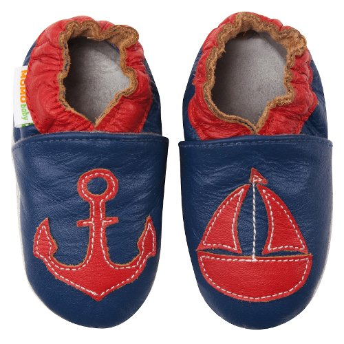 Momo Baby Infant/Toddler Anchors Away Navy Soft Sole Leather Shoes - 6-12 Months/3-4 M Us Toddler front-235909