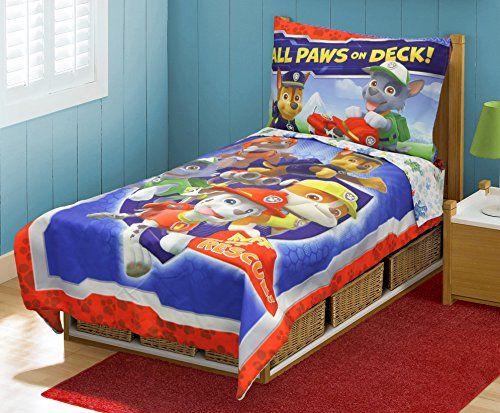 Paw Patrol Toddler Bed Set, Blue (Toddler Bed Sheet Sets compare prices)
