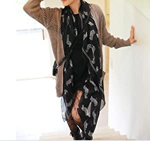 Eplayer® Fancy Zebra Print Soft Celebrity Scarf Animal Fashion Large Long Shawl New Gift Lady Black