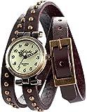 AMPM24 Vintage Coffee Leather Girl Lady Women Slim Wrap Long Bracelet Quartz Watch Gift