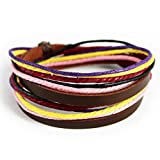 Wild Wind Colorful Multi Strand Ancient Button Style Leather Adjustable Length Amulet Wrist Wrap Bracelet