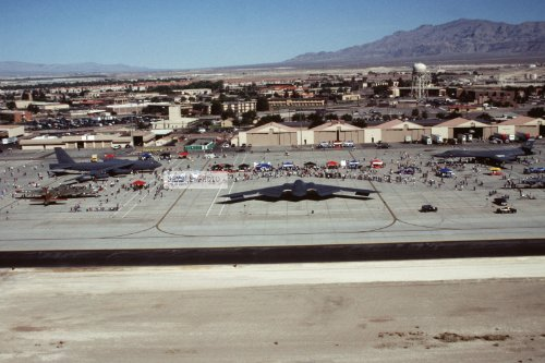 Photo A Parade Of Front Line Aircraft Dress The Nellis Afb Ramp Areas During The United States Air Force'S 50Th Anniversary And Air Show. On Display Are The B-2 Spirit, B-52 Stratofortress, B-1 Lancer And Other Historic Planes, 04/26/1997