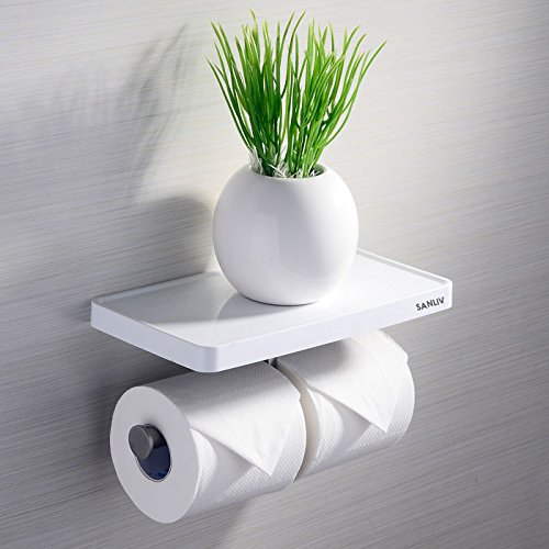 Sanliv double roll toilet paper holder with mobile phone storage shelf home garden bathroom - Bathroom accessories toilet paper holders ...